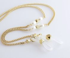 Bead Jewellery, Beaded Jewelry, Diy Fashion Accessories, Eyeglass Holder, Etsy, Gold, Designer Eyeglasses, Classic, Beaded Collar