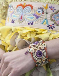 Soutache Bracelet, Soutache Jewelry, Cuff Bracelets, Bangles, Shibori, Ale, Bracelet Watch, Modeling, Swarovski