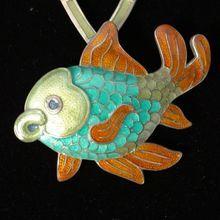 "20"" Rare Margot de Taxco Plump Fish Polychrome Enamel Mexican Pin Pendant Necklace, mid century.."