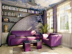 The latest designs and ideas with top trends on how to decorative stone wall in your living room, wall stone in living room Decor, Purple Furniture, Room, Interior, Purple Living Room, Farmhouse Interior, Home Decor, Interior Design, Farmhouse Interior Design