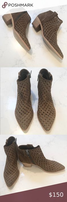 """DOLCE VITA Spence Leather Bootie SZ 9.5 DOLCE VITA Spence Ankle Leather Booties   The Final Touch On Your Casal Look With Eye-Catching Detail   Size: 9.5 Color: Nubuck Heel: Approx: 2.5"""" Side: Zipper Closure  Woven Upper Stacked Chucky Heel Dolce Vita Shoes Ankle Boots & Booties"""