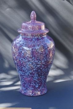 Lilac and blue Ceramic Jar with Lid