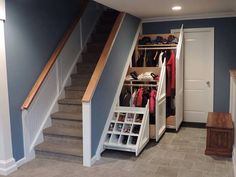 Under Stairs Nook, Stair Storage, Mudroom, Lounge, Construction, Cool Stuff, Closet, House Ideas, Interiors