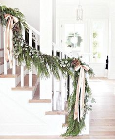 The Shopper's Guide to Super-Chic Holiday Decor - winter decor Noel Christmas, Merry Little Christmas, Rustic Christmas, Winter Christmas, Classy Christmas, Christmas Garlands, Christmas Christmas, Christmas Staircase Garland, Christmas Greenery