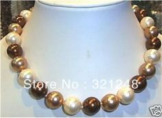 "Free shopping New 2014 DIY 8mm 18"" south sea Multicolor shell pearl necklace GE1171"