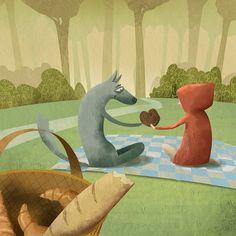 """Caperucita Roja enamorada / Little red riding hood in love"" #adri_santiago #illustration #ilustracion #caperucita #roja #cuento #littleredridinghood #woods #wolf #inlove #picnic #sweet #chocolate #lobo #draw #artworks #dibujo #instart #amor #childilustration #friendship"