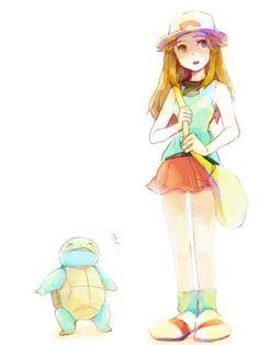 Leaf and Squrtle Fan Art Pokemon, Pokemon Manga, Pokemon Oc, Pokemon People, Cute Pokemon, Pokemon Stuff, Pokemon Especial, Lucario Pokemon, Pokemon Red Blue