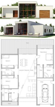 Contemporary house designs have a great deal to offer to a modern resident. Ultimately, the modern house design does not limit innovative minds in any way. Homes Small Contemporary House Plans, Modern House Floor Plans, Home Design Floor Plans, New House Plans, Small House Plans, Modern House Design, Plan Design, Design Ideas, Container House Plans