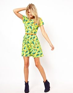Image 4 ofASOS Skater Dress In Bright Neon Floral With Belt
