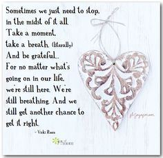 Sometimes we just need to stop, in the midst of it all. Take a moment, take a breath. (literally) And be grateful... For no matter what's going on in our life, we're still here. We're still breathing. And we still get another chance to get it right. ~ Vicki Reece