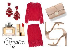 """""""lady in red"""" by queen-naznaz ❤ liked on Polyvore featuring Diane Von Furstenberg, Christian Dior, L. Erickson and Yves Saint Laurent"""