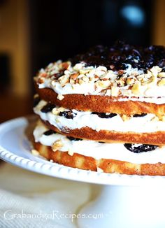 Soft Honey cake layered with prune and cream. There are several versions of this Russian honey cake. I bake it with 5 thin layers. Russian Cakes, Russian Desserts, Russian Recipes, Prune Cake, Honey Cake, Moist Cakes, Desert Recipes, Cakes And More, Yummy Cakes