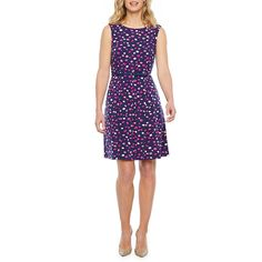 Liz Claiborne Sleeveless Dots Fit & Flare Dress Fit Flare Dress, Fit And Flare, Spandex Fabric, Liz Claiborne, Sleeve Styles, Purple, Sleeves, Color, Dots