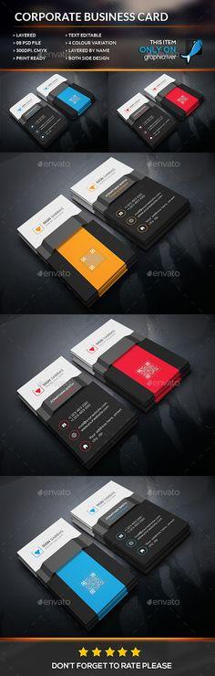 Creative corporate Business Card Template #design Download: http://graphicriver.net/item/creative-corporate-business-card/12427677?ref=ksioks