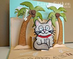 Altered Scrapbooking: Beachy Whiskers the Cat Card