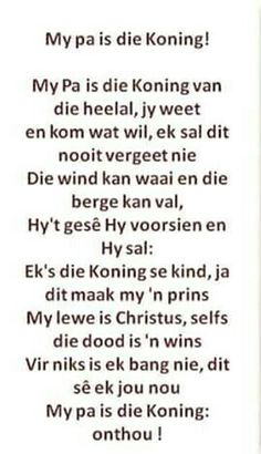 My Pa is die Koning. Songs For Toddlers, Kids Songs, Preschool Themes, Preschool Learning, First Grade Math Worksheets, Rhymes Songs, Afrikaans Quotes, Kindergarten Lessons, Perfection Quotes