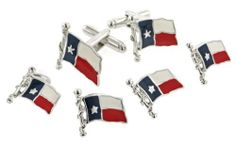 JJ Weston Texas flag cufflinks and shirt stud formal set with presentation box. Made in the USA JJ Weston. $95.00. Patriotic. Superb styling. Quality craftsmanship. Presentation boxed. Made in the USA