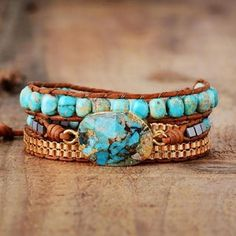 Bracelets Wrap En Cuir, Bracelets Bleus, Beaded Wrap Bracelets, Bracelet Cuir, Crochet Bracelet, Statement Bracelets, Yoga Bracelet, Bracelet Turquoise, Turquoise Gemstone