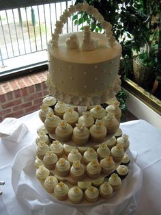I like the small cake idea for the bride and groom to cut and cupcakes for the gests!