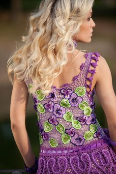 exclusive art crochet dress, Violets  Karen I LOVE these colours, but i would have to knit it