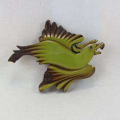 Vintage Carved Bakelite and Wood Bird Brooch Large Art Deco 1930s Green Bakelite Flying Parrot Pin Jewelry