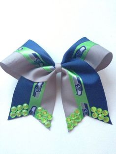 5.5 Seattle Seahawks Fan Bow With Attached Alligator Clip  via Etsy