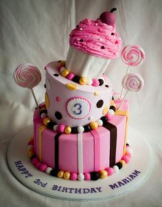 Pink, Brown, White and Gold Topsy Turvy Cake with Stripes & Dots and Lollipops & Cupcake (Mariam)