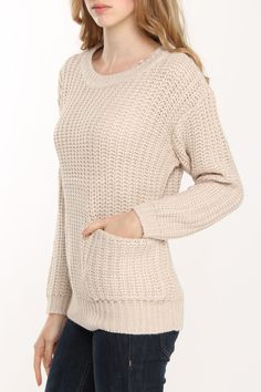 la class couture Patch Pocket Sweater In Oatmeal Melange - Beyond the Rack