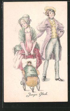 Künstler-AK Ov.Alt-Stutterheim: Junges Glück, Paar mit Kinderwagen 0
