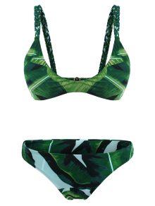 Palm Tree Braided Cami Bikini Set - GREEN M