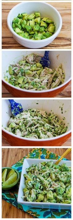 Chicken and Avocado Salad with Lime and Cilantro. Yogurt instead of mayo? Chicken and Avocado Salad with Lime and Cilantro. Yogurt instead of mayo? Avocado Recipes, Paleo Recipes, Mexican Food Recipes, Cooking Recipes, Lunch Recipes, Healthy Snacks, Healthy Eating, Eat Better, Avocado Salat