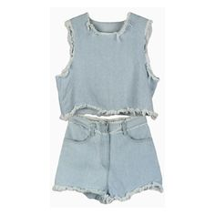 Denim Short Vest Top And Shorts With Fringe Detail (3.125 RUB) ❤ liked on Polyvore