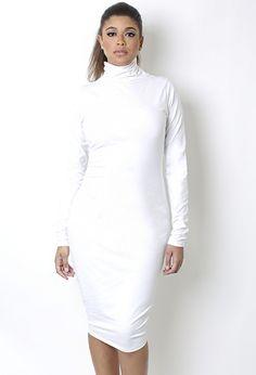 White turtleneck long sleeve dress