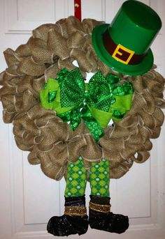 St Patricks Day Wreath Leprechaun Bulap by tiffanynewcomb on Etsy