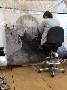 Australian Tapestry Workshop ATW ATW weaver hard at work. Outstanding! Artist: Brook Andrew