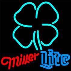 Miller Lite Blue Clover Neon Sign 16x16