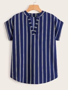 Shein V-neck Striped Rolled Cuff Blouse Kurta Designs, Blouse Designs, Fashion News, Fashion Outfits, Beach Wear Dresses, Designs For Dresses, How To Roll Sleeves, Summer Shirts, Types Of Sleeves