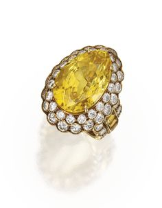 18 Karat Gold, Yellow Sapphire and Diamond Ring   Lot   Sotheby's