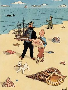 Tintin at the beach . Another illustrated character that has proved popular.