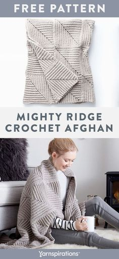 Free Crochet Pattern | Bernat Maker Home Dec Mighty Ridge Crochet Afghan | #yarnspirations #freecrochetpattern #bernatmakerhomedec #bernat #caron #patons #lilysugarncream #redheart Easy Knitting Patterns, Crochet Blanket Patterns, Baby Patterns, Free Knitting, Afghan Patterns, Knit Or Crochet, Crochet Home, Crochet Baby, Free Crochet