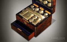 Miniature Antique Vanity Box in Burr Walnut
