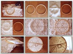 Bastidor para alianzas con guipur.  Guipur embroidery hoop frame for weddings rings.  Step by step at our blog: http://dandelion-events.com/2013/06/diy-bastidor-para-alianzas-boda-mm
