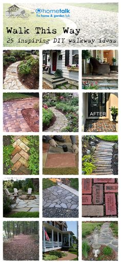 Amazing DIY walkway ideas. Desperately needed because after 8 years we still don't have sidewalks! :)