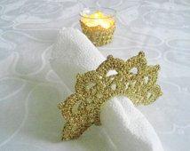 Wedding Table Setting, Tea Candle Holder and 4 Crochet Napkin Rings,  Wedding Table Decor, Golden Crochet Table Holder,  Wedding Celebration
