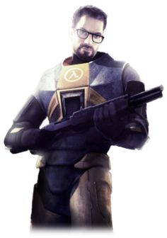 """In 2009, Gamespot held a """"Best Hero"""" bracketed tournament to determine who the greatest video game hero of all time was.  The winner was...this guy.  Unlike most first-person shooter leads, Dr. Gordon Freeman is a MIT Graduate with no combat experience prior to the events of the Half-Life series, but next thing you know, he becomes humanity's last hope against alien invasion.    He also never talks and is never seen in his games since they have no cutscenes.  Way to leave him ambiguous."""