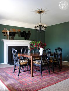 Dining Room Updates - Floral Curtains & Bokhara Rug