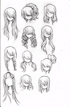 tumblr drawing hair easy - Google Search