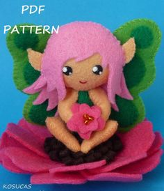 PDF sewing pattern to make a small flower fairy in felt by Kosucas