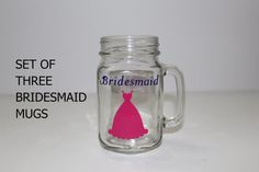 Set of Three Mugs  Bridesmaid Gift  Mason Jar by NorthernCheers