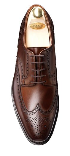 Swansea Dark Brown Calf Full Brogue Derby | Crockett & Jones